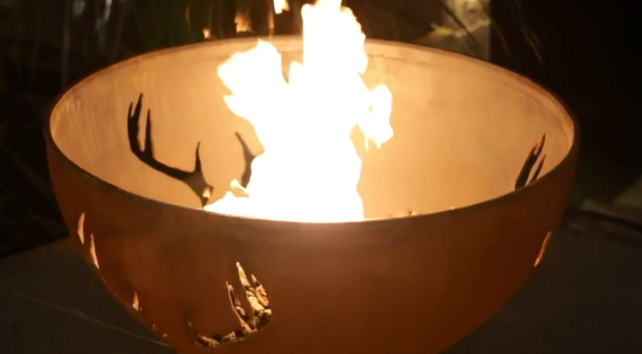 Fire pit art antlers
