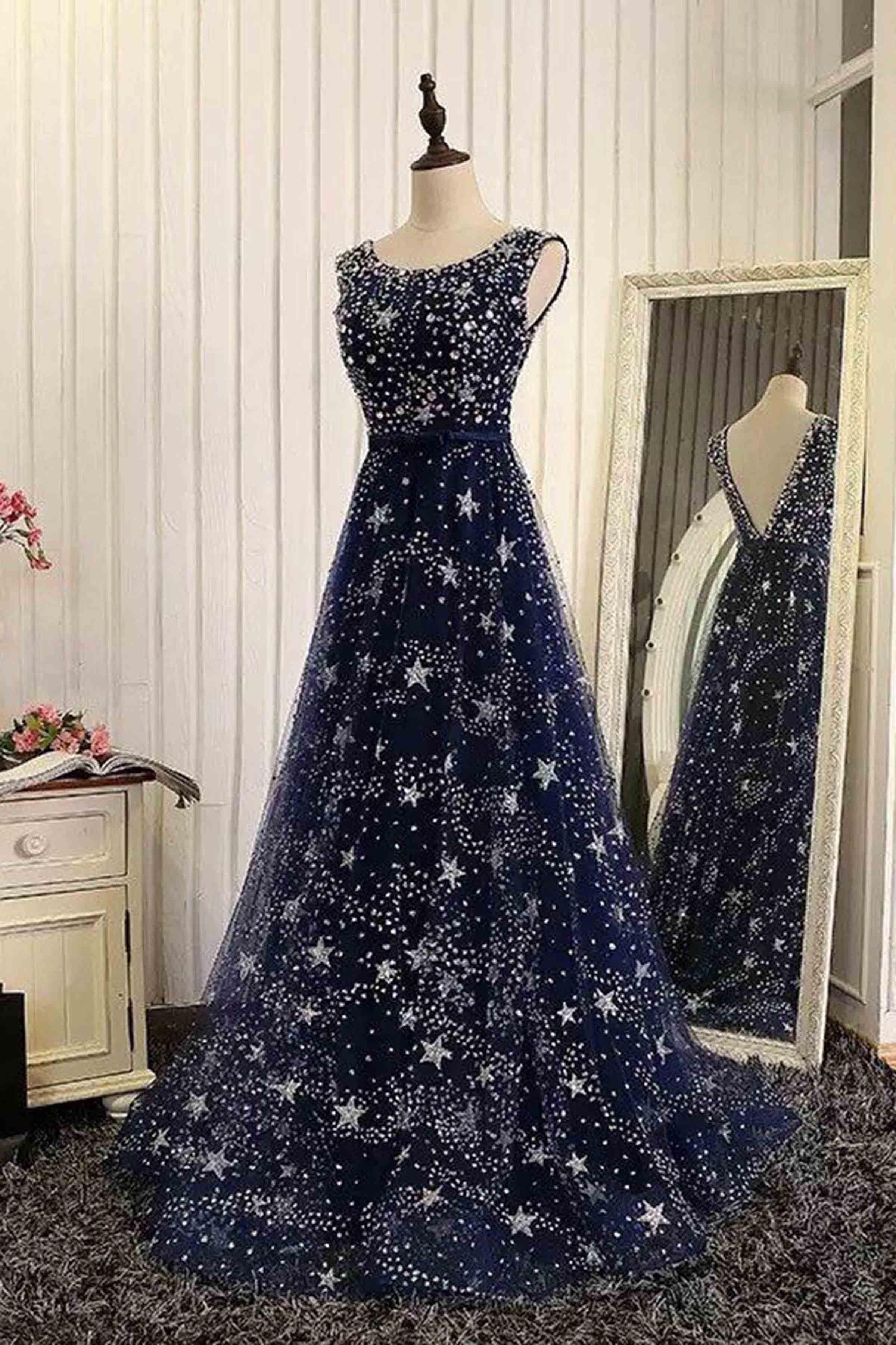 Luxury blue tulle star sequins beaded floor-length long evening dresses -   16 dress Nigth formal ideas