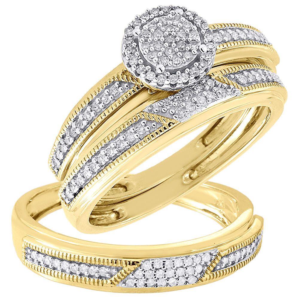 His & Her Engagement Ring Wedding Band Trio Set Diamond