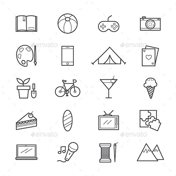 Hobbies And Activities Icons Line Icon Design Inspiration Doodle Icon Christian Symbols