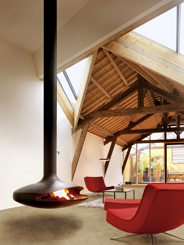 Free Room Design Tool: Hanging Fireplace, Modern Fireplace