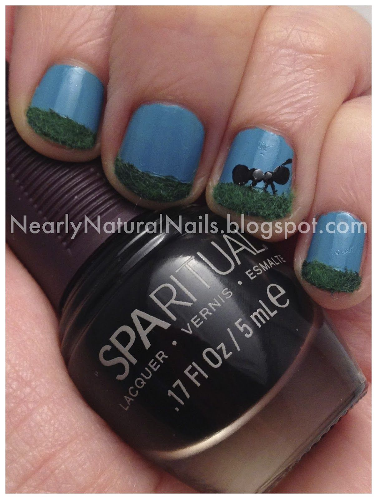 Fuzzy Nails Nail Art Ant And Grass Accent Nail Manicure Scene