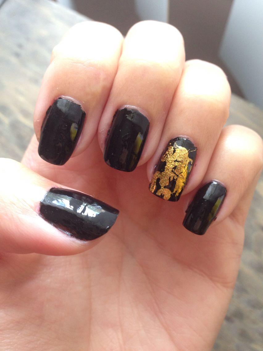 Black nail polish with gold foil nail design #fall | Nails design by ...