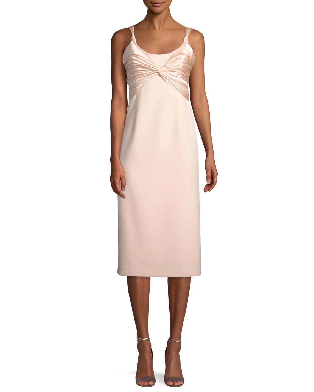 CINQ À SEPT AMINA SCOOP-NECK SLEEVELESS A-LINE DRESS W/ RUCHED BODICE. #cinqàsept #cloth #