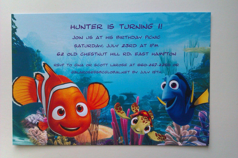 10 PRINTED Disney Nemo Invitations Personalized Finding Nemo ...