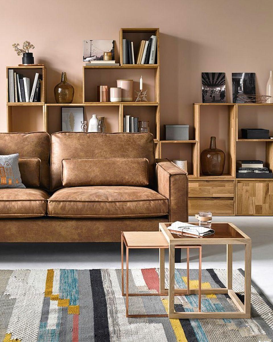 Deco Salon Marron Et Bleu du cuir dans la déco du salon | décoration salon marron