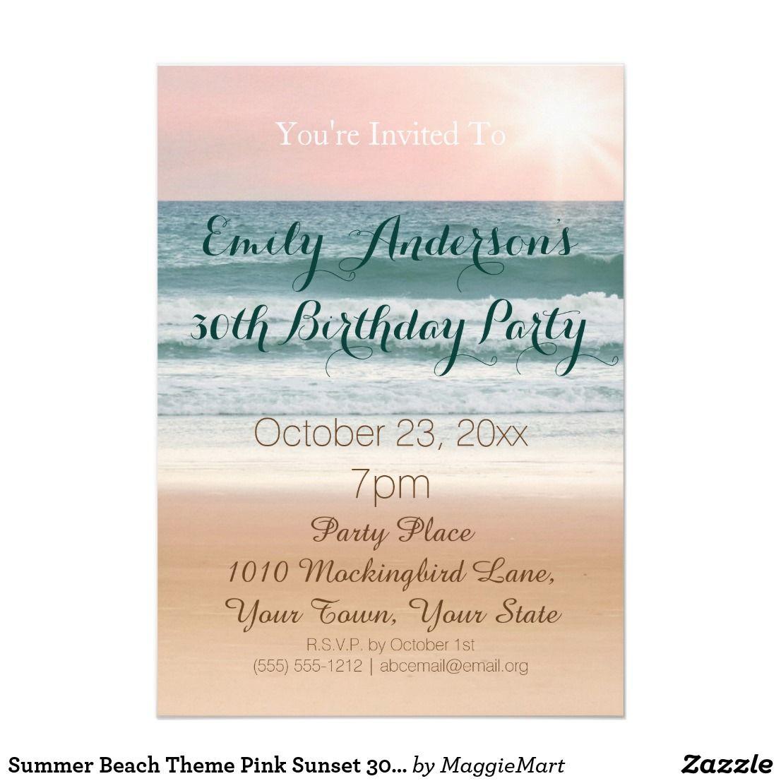 Summer Beach Theme Pink Sunset 30th Birthday Invitation Zazzle
