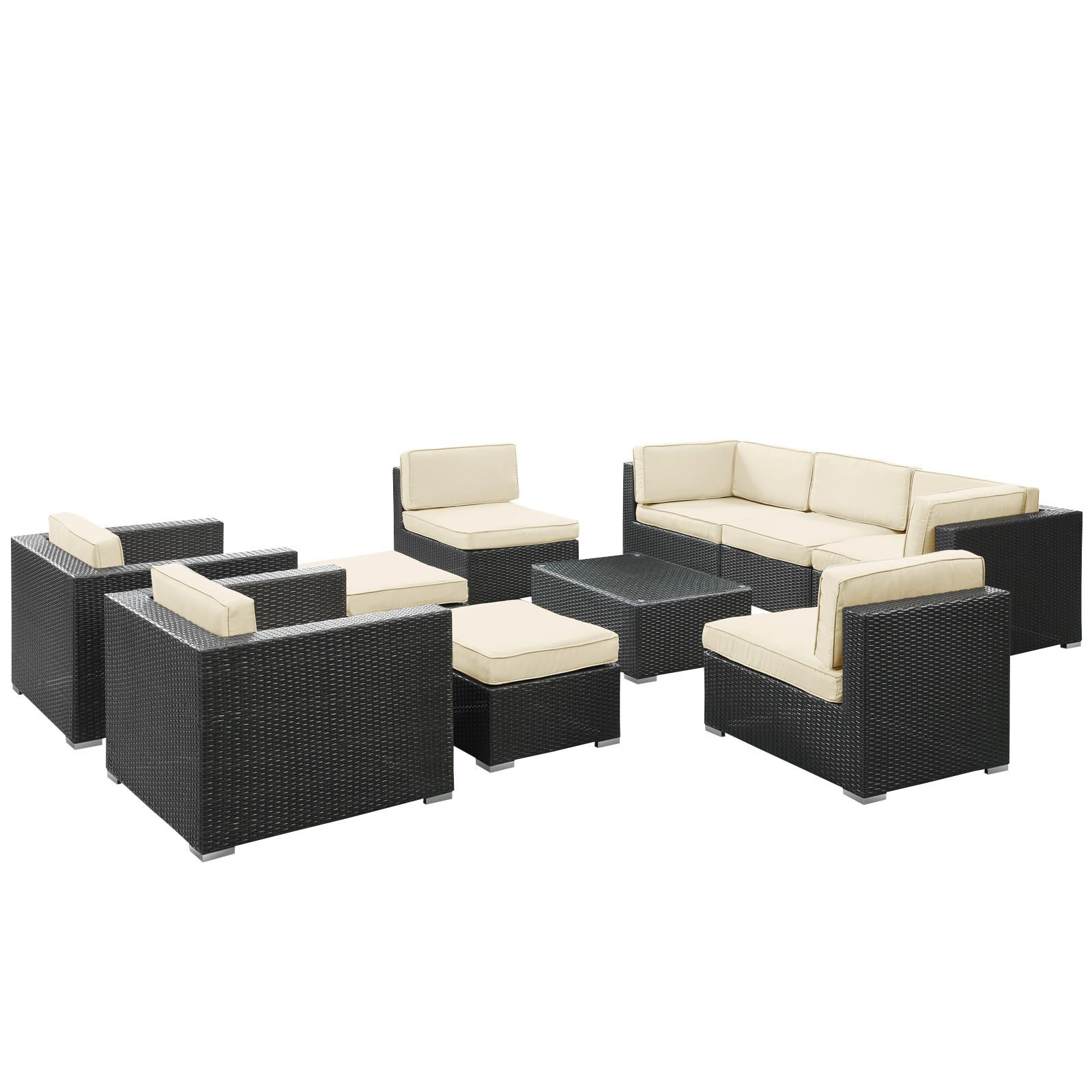 Avia 10 Piece Outdoor Patio Sectional Set In Espresso White
