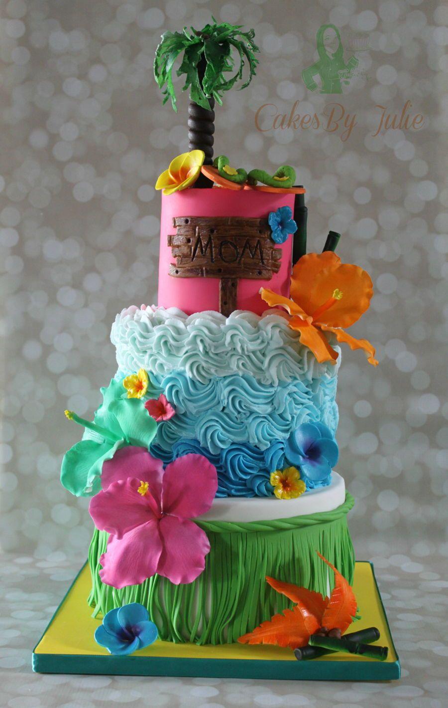 Hawaiian Themed Birthday Cake bday cakes Pinterest Hawaiian