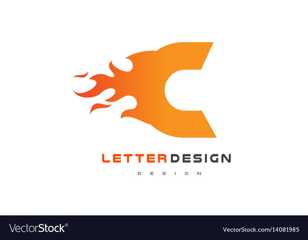 C letter flame logo design fire logo lettering vector
