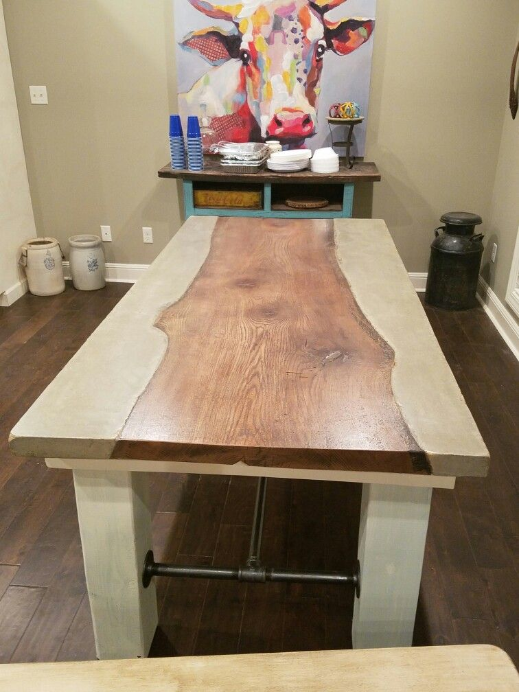 Concrete and tree slab dinner table diy Rustic home decor