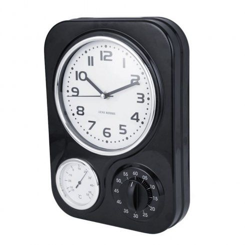 Lene Bjerre Clotille Retro Kitchen Wall Clock Timer Black