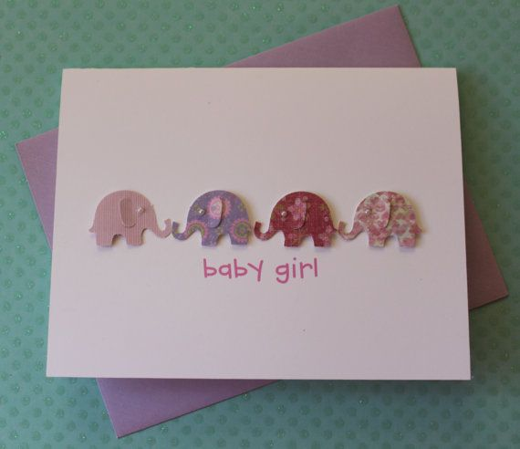 Handmade Baby Card Baby Shower Card New Baby Card Welcome Baby Girl