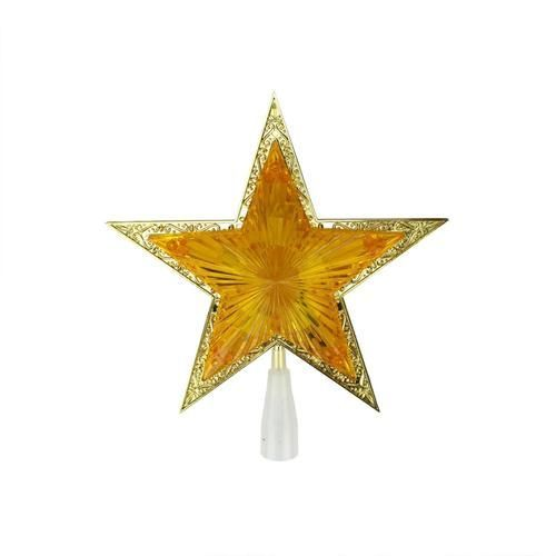 10 Lighted Orange And Gold Crystal Star Christmas Tree Topper
