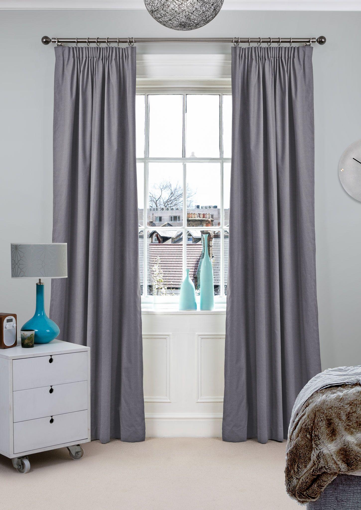 flair cinnamon - plain textured grey curtains from 100% cotton