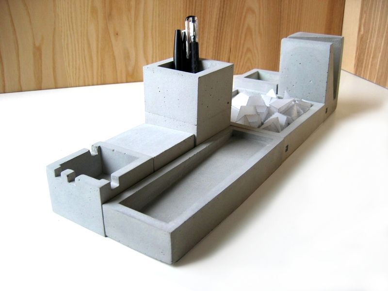 schreibtisch set aus beton desk organizer made of concrete by formfreunde via. Black Bedroom Furniture Sets. Home Design Ideas