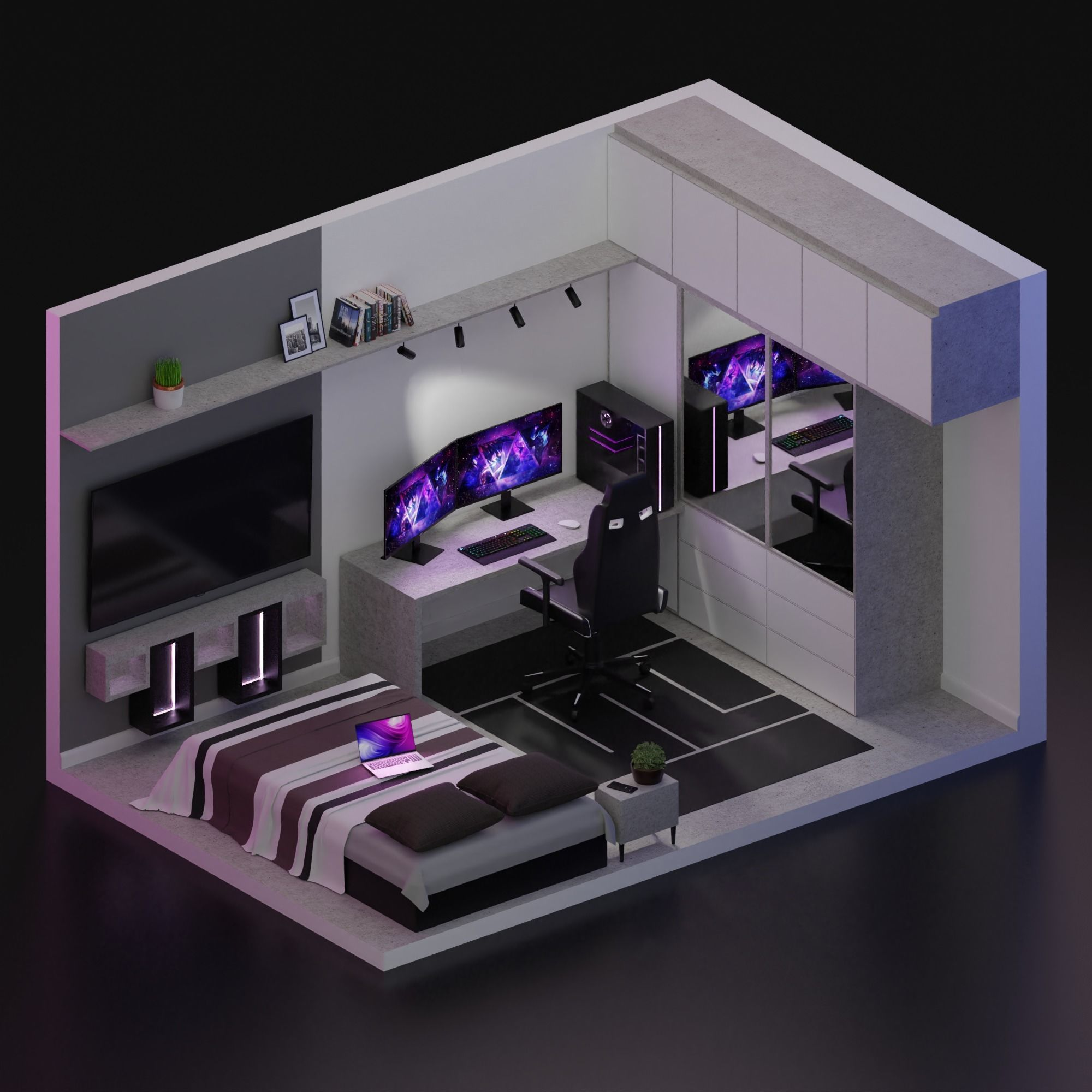 Cool 3D gaming set-up | 3D model in 2020 | Bedroom setup ...