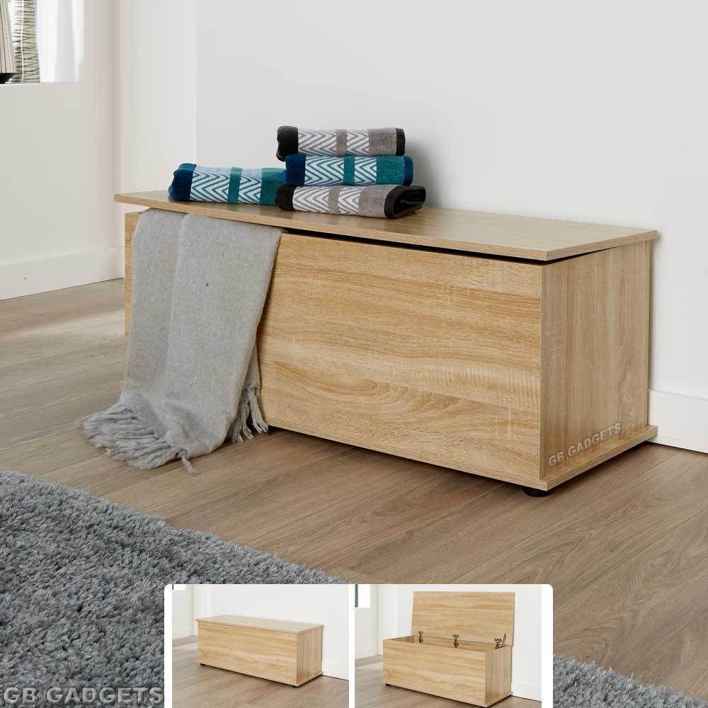 wooden ottoman storage chest trunk