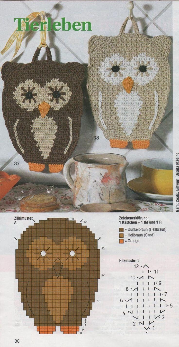 Leuke Pannenlap haken met diagram | bolsos crochet | Pinterest ...
