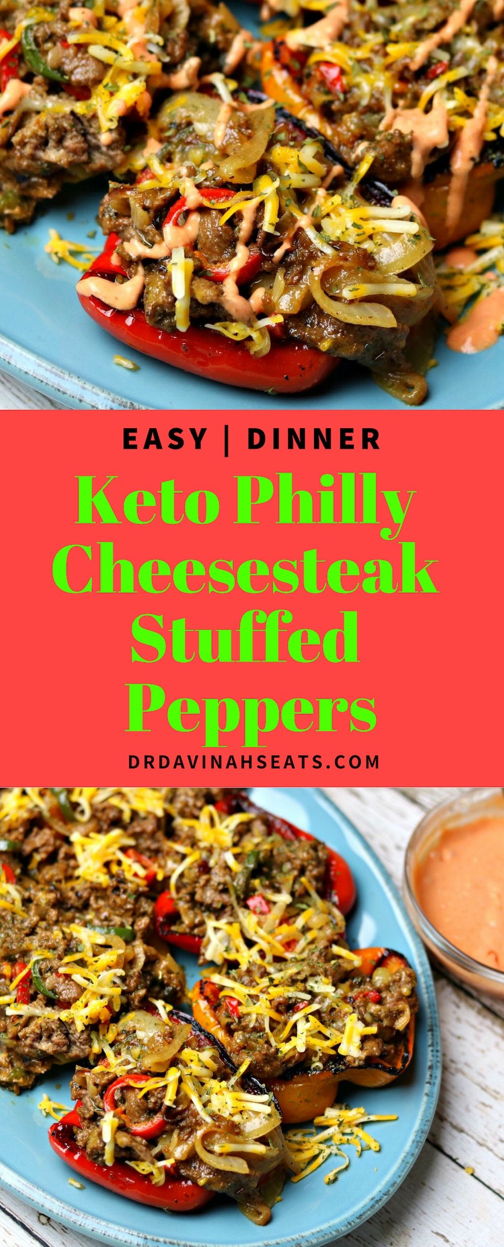 Easy Keto Philly Cheesesteak Stuffed Bell Peppers Recipe #stuffedbellpeppers