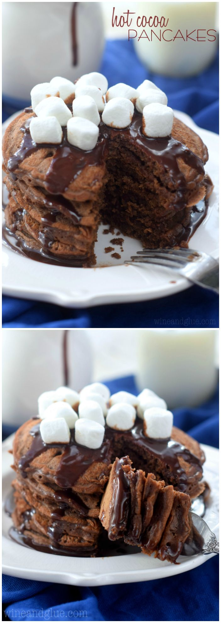 These Hot Cocoa Pancakes are a cocoa lover's dream! Perfect for a holiday breakfast or any Sunday!: