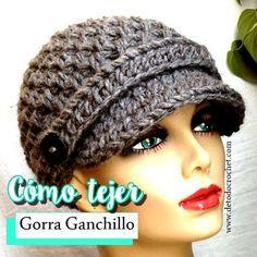 Cómo tejer gorra con visera y flor paso a paso en crochet video tutorial  completo en español 2efe0b41a3e