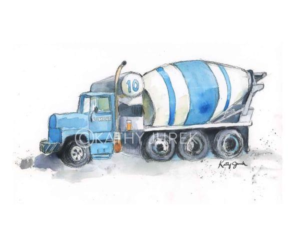 Cement mixer truck art print for a boy's room.