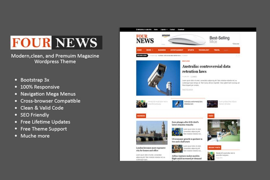 Fournews Clean Wp Magazine Magazine Theme Wordpress Website Template Design Magazine