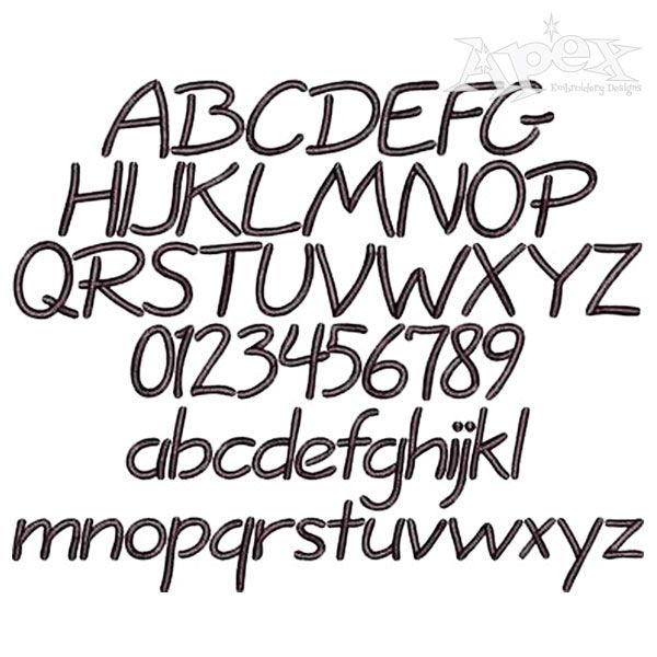 Short Hand Embroidery Font Nice Bold Set All Letters A Z And Numbers You Get 3 Sizes 1 25 375