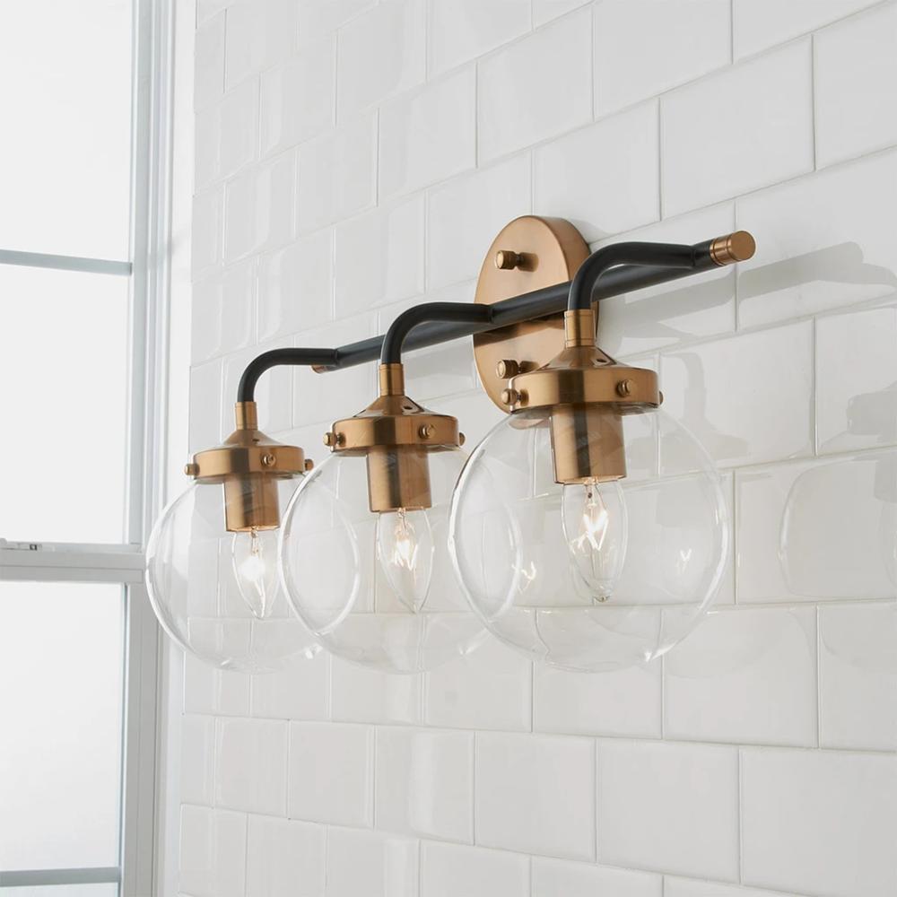 Boudreaux 3 Vanity In Matte Black Antique Gold In 2020 Modern Vanity Lighting Vanity Lighting Bathroom Light Fixtures
