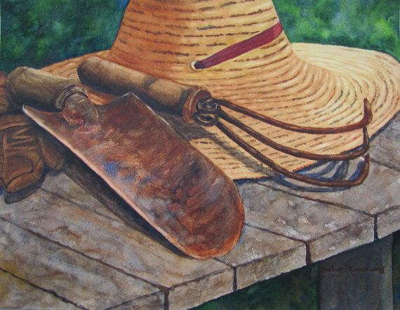 gardening painting straw garden hat garden by barbararosenzweig 4800