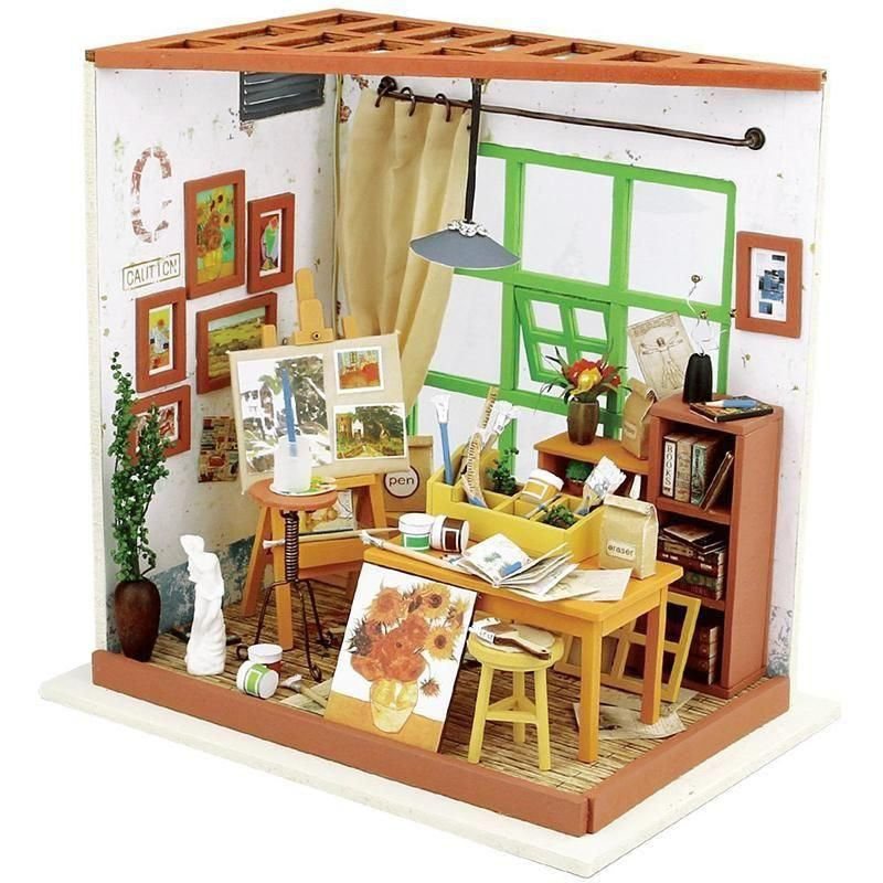 Charming 3D DIY Adau0027s Studio Miniature Doll House, 🏡 Comes With LED U0026 Furniture