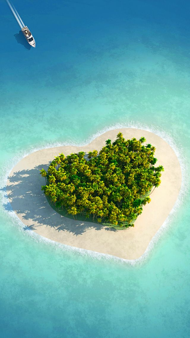 Tap And Get The Free App Art Creative Island Love Heart Nature Sea Travel Hd Iphone 5 Wallpaper Beautiful Places Beautiful Islands Places To Travel