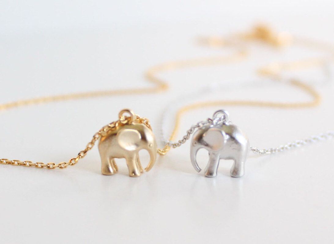 Cursive letter quot l quot cubic zirconia 14k gold finish pendant with 36 - Tiny Elephant Necklace Gold Silver Baby Elephant Symbolic Charm Wisdom Layering Necklace Wedding Bridesmaid Gift