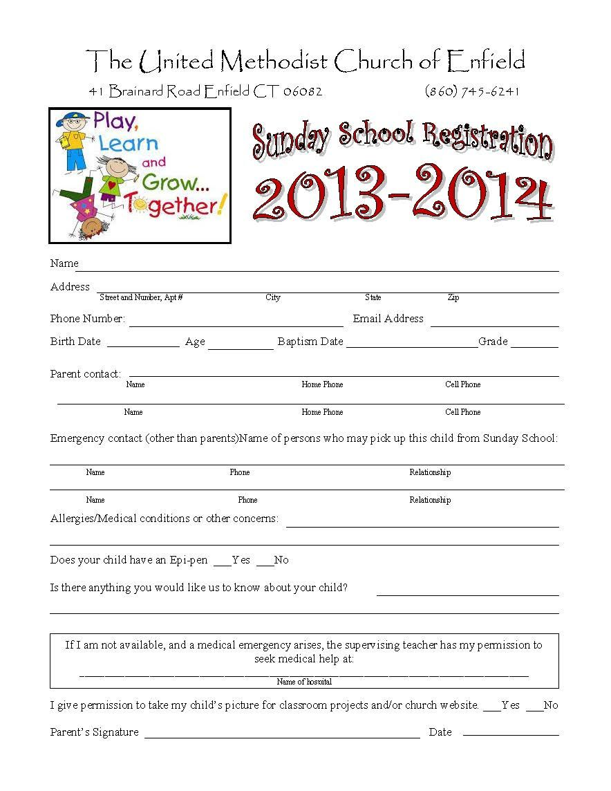 Sunday School Registration Form  Enrollment Form Format