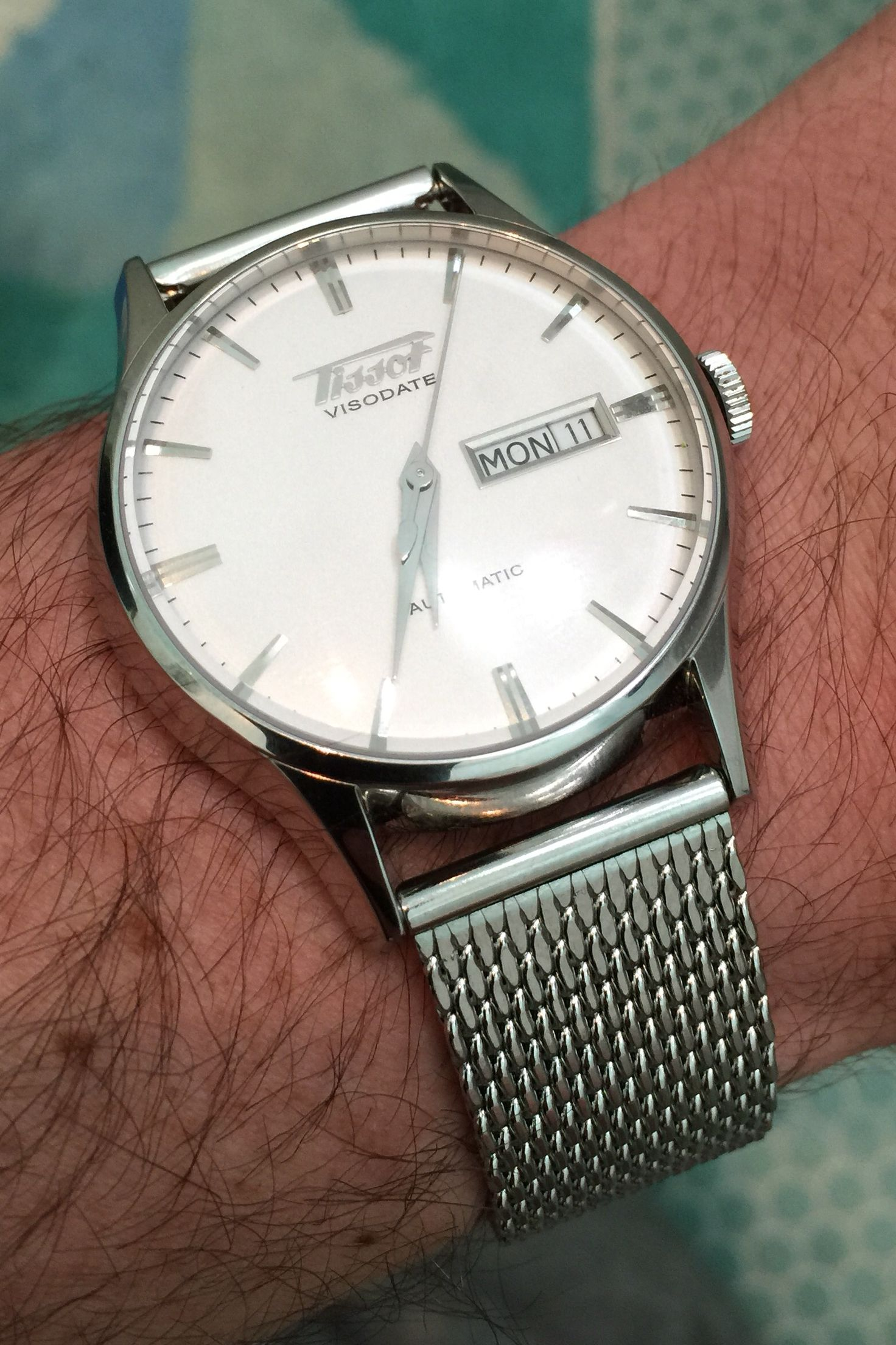 8caa9e1c2071 Tissot Visodate White with stainless steel mesh silver bracelet - ordered  straight off eBay £3!!