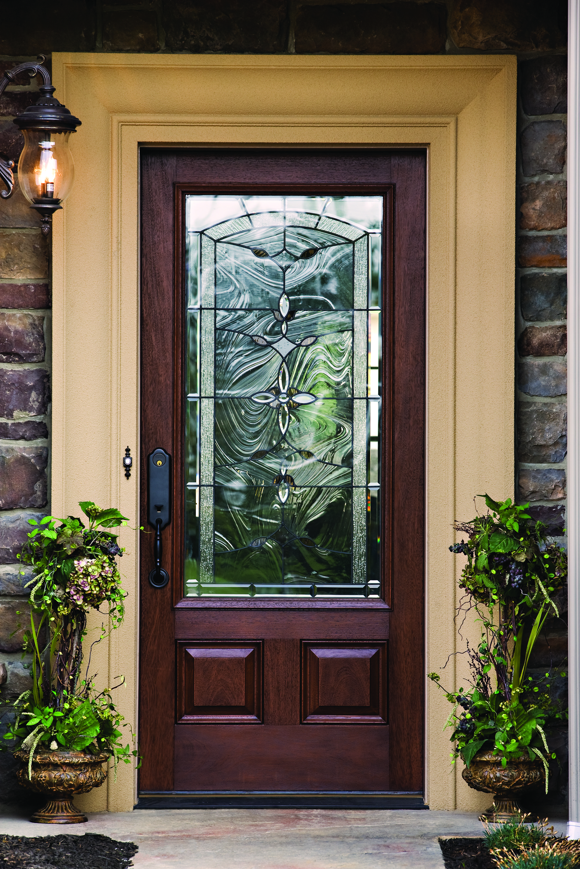 Therma Tru Classic Craft Mahogany Collection Fiberglass Door With Bella  Decorative Glass.