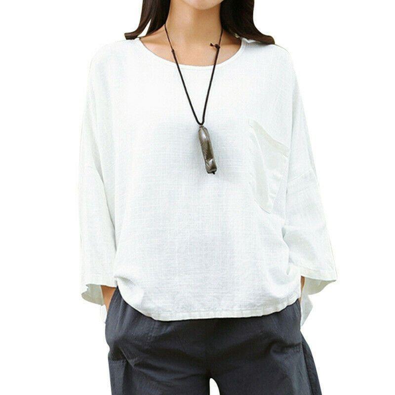 48c3e1ffd80c US-DEALS Womens Loose 3/4 Sleeve Cotton Linen T-shirt Crew Neck ...