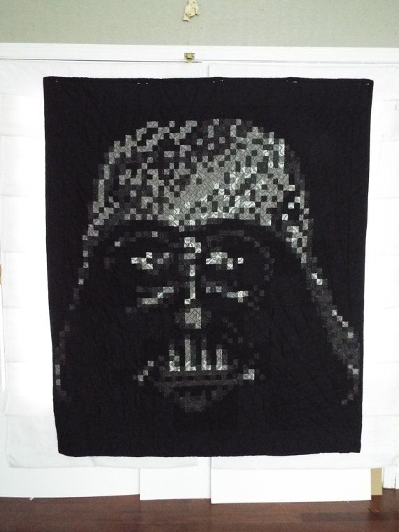 Darth Vader Pixel Quilt By Espritdecorgifts On Etsy Darth
