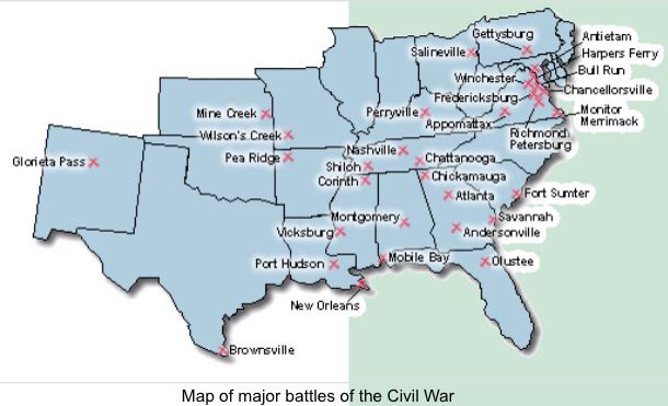 Map of major Civil War battles | Map Quest | Pinterest | Battle ...