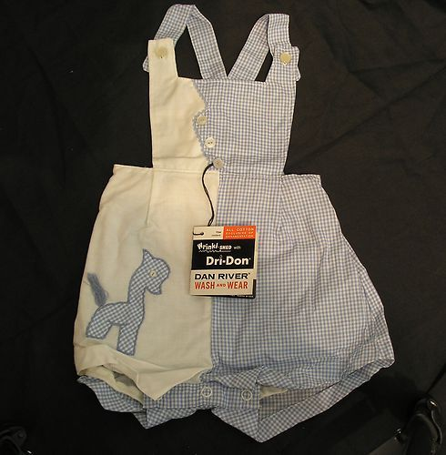 Vintage Dan River Blue and White Baby Outfit