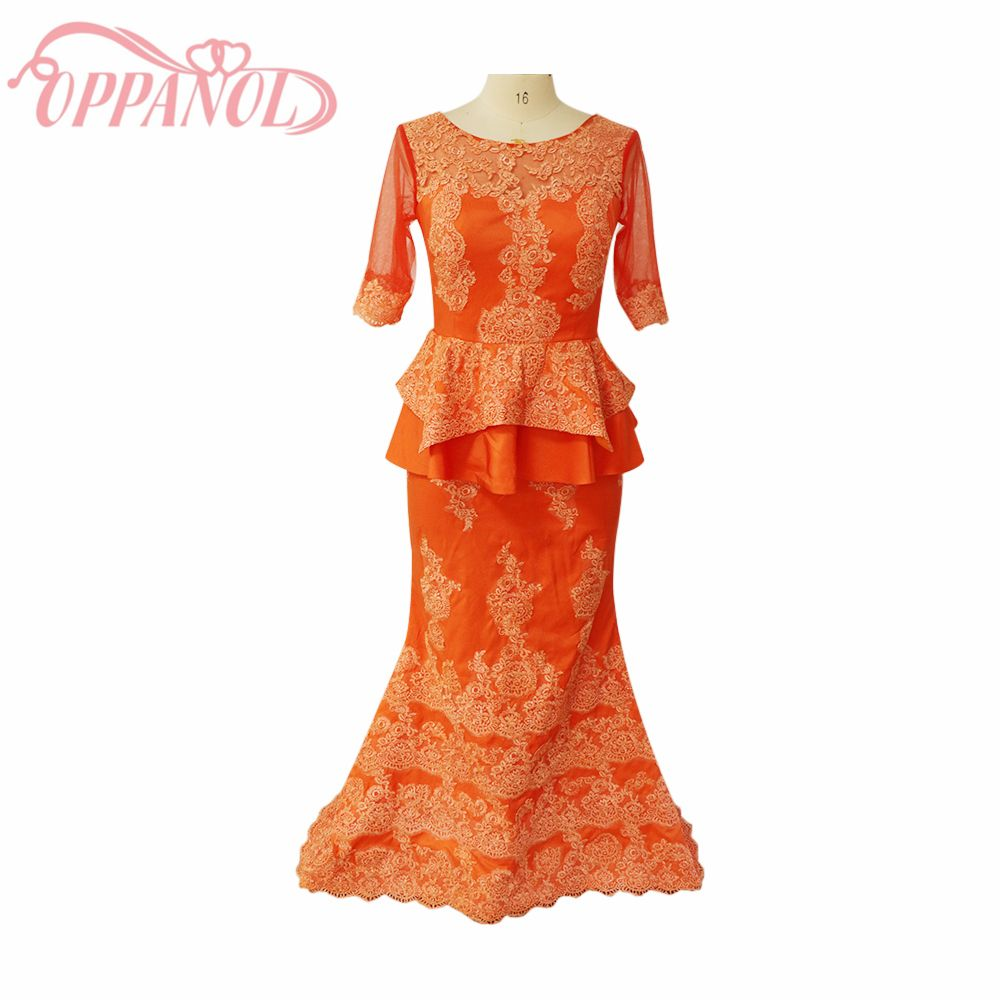 Click to buy ucuc luxury orange red lace gold appliques backless half