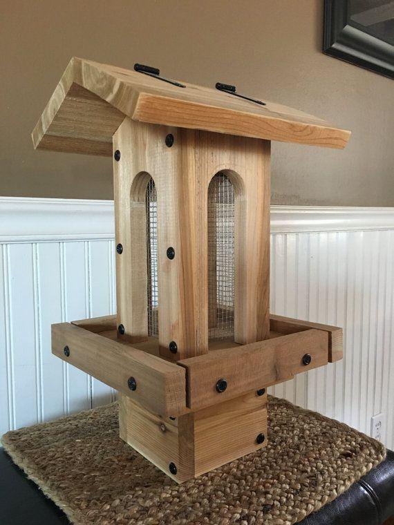 The Hut Cedar Bird Feeder And Post Base Combo Etsy Wood Bird Feeder Bird Feeders Bird House Feeder