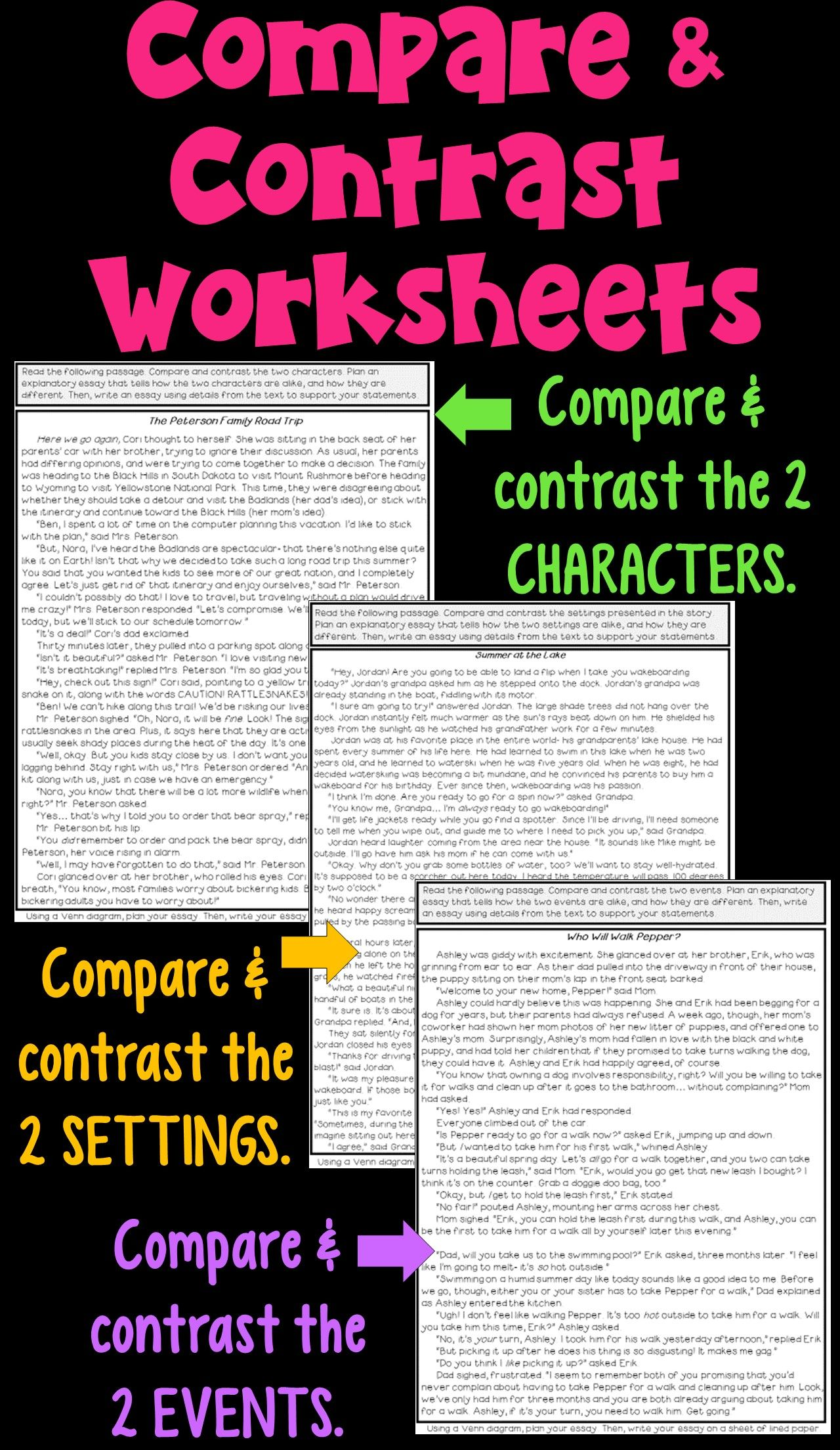 Worksheets Compare Contrast Worksheets compare and contrast worksheets in 2018 reading pinterest venn this packet includes 3 passages students create diagrams to charac