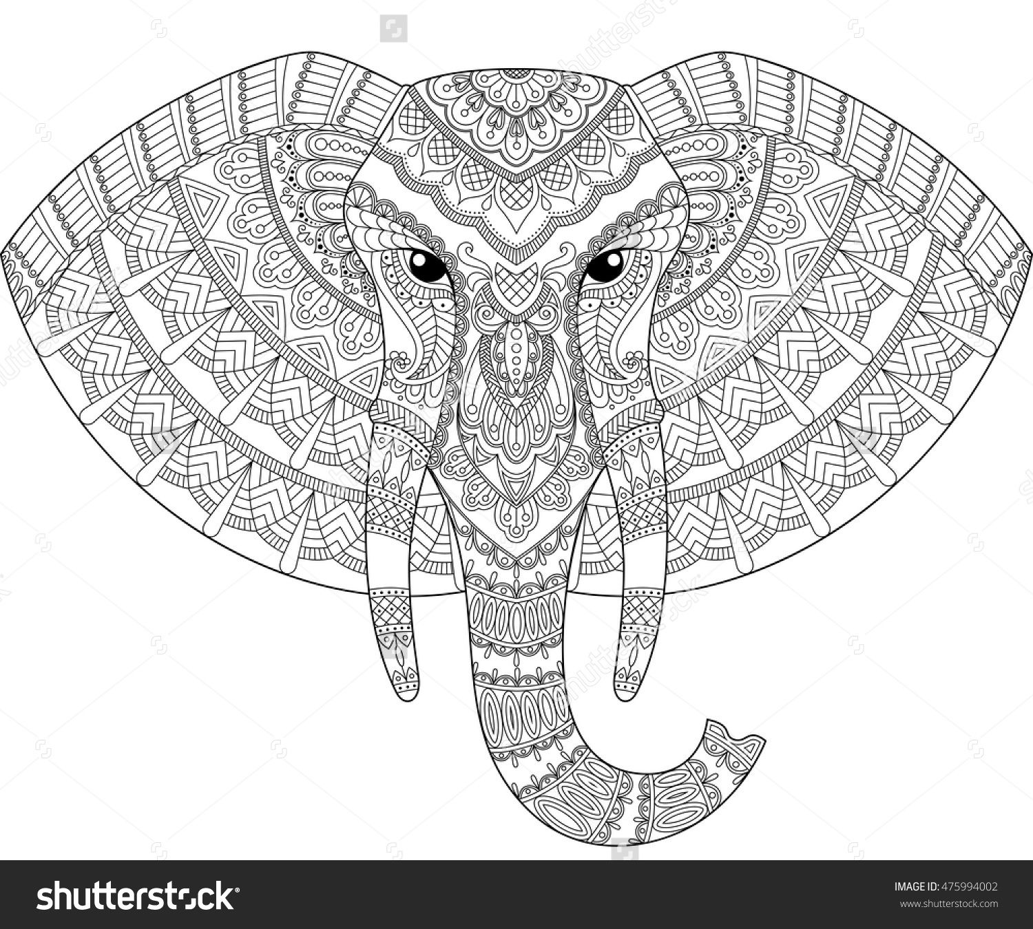 Elephant Head In Zentangle Style. Adult Antistress