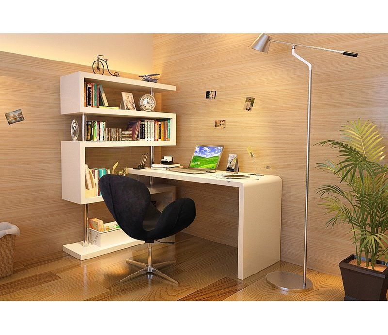 Waxman L Shape Credenza Desk With Bookcase Modern Computer Desk Modern Office Desk Office Furniture Modern