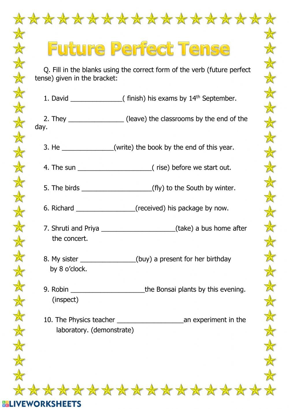 Future Perfect Interactive And Downloadable Worksheet You Can Do The Exercises Online Or Download The Worksh Perfect Tense Future Perfect Vocabulary Exercises