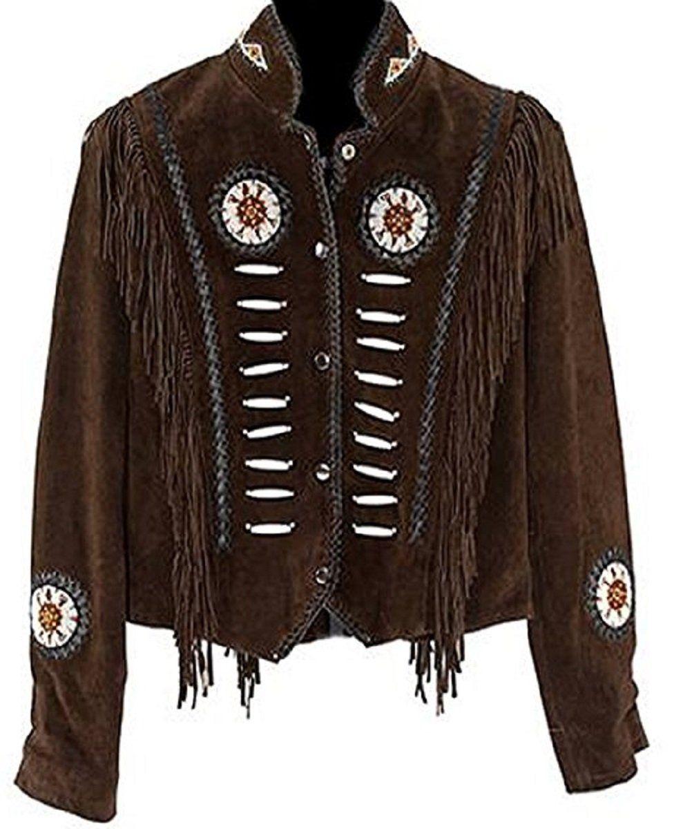 LEATHERAY Mens Fashion Western Cowboy Fringe /& Bonned Jacket Suede Leather Brown