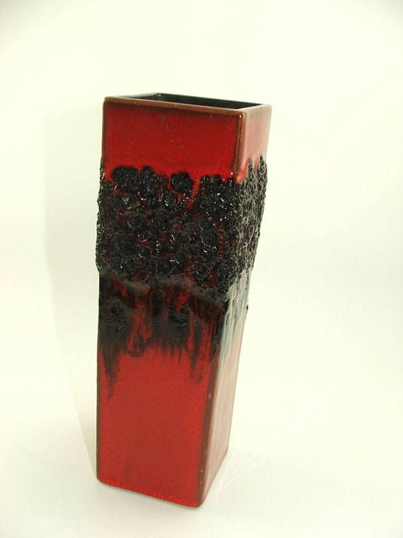 70s rectangular ceramic vase red glazed  with black Lava