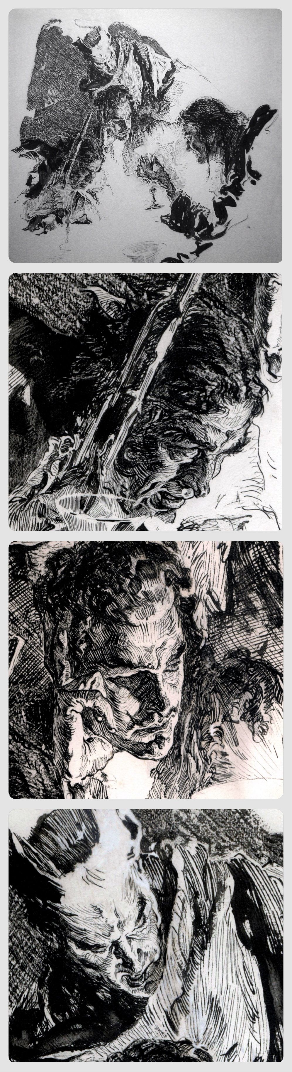 The Conspirators, 1922 (illustration and three details) // Joseph Clement Coll